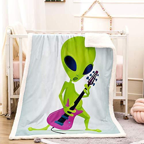 WEDSGTV Mantas Para Cama Verde Alienígena Guitarra 150X127Cm 3D Manta De Cordero De Terciopelo Manta Gruesa De Doble Capa Manta De Invierno Manta De Franela Doble Cálida Colchoneta Estera Ropa De Cama