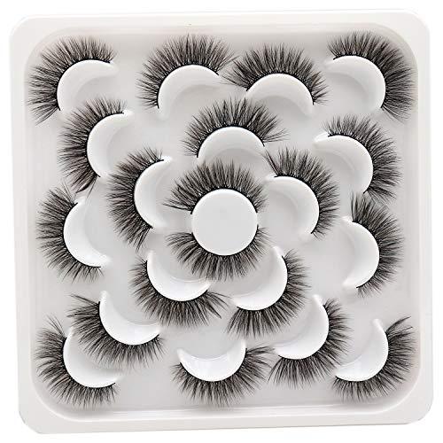 Losha 10 Pairs Eyelashes Faux Mink Eyelashes Natural Look Fluffy Wispy Soft Handmade Reusable 3D Volume Lashes Pack