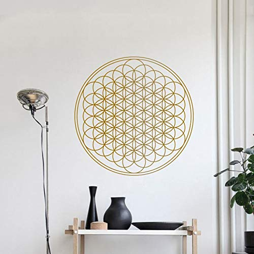 sanzangtang Blume des Lebens geometrische Wandtattoo Runde Mandala-Stil Wandmalerei Yoga Studio Dekoration Wandaufkleber,63x63cm