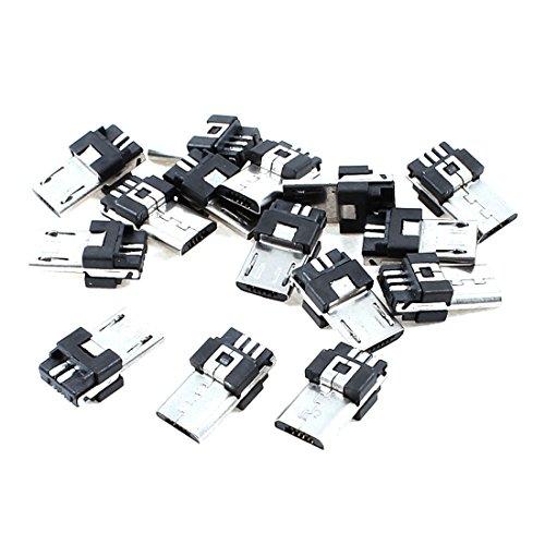sourcing map 15 Piezas Micro USB 5 Pin Conector Tipo B Jack Macho Adaptador de Enchufe de Alambre para soldar