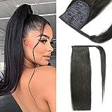 Extension de cheveux queue de cheval cheveux humains 14 pouces queue de cheval Extension de cheveux humains Clip en queue de cheval Extension de cheveux cheveux humains # 1B noir naturel 60g