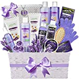 Premium Deluxe Bath & Body Gift Basket. Ultimate Large Natural Spa Basket! #1 Spa Gift Basket for Women - Aromatherapy Lavender Spa Kit + Luxury Bath Pillow! Sulfate & Paraben Free.