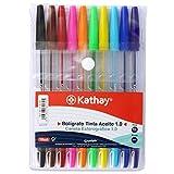 Kathay 86210199. Pack de 10 Bolígrafos de Colores, Tinta Aceite, Punta 1mm