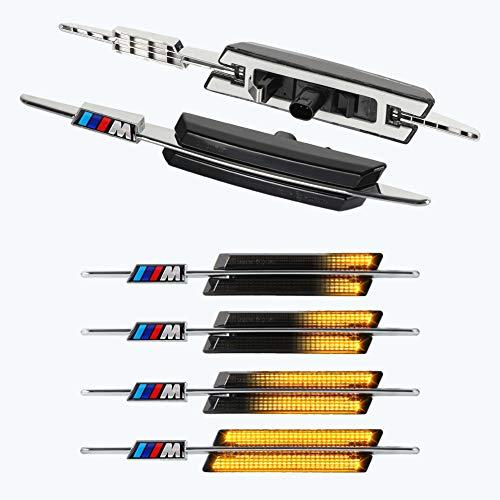 [1 Paar] OZ-LAMPE Dynamische LED Seitenblinker Laufblinker Fahrtrichtungsanzeiger [Bernstein] für Fahrzeug B-M-W E90 E91 E92 E93 E60 E61 E82 E88, Serie 3/5/1 (Rauchglas)