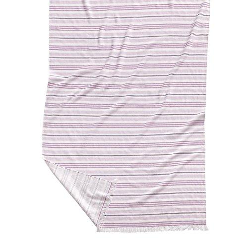 Burrito Blanco Pareo para Playa/Toalla Pareo Jacquard 187 Grande con Estampado de Rayas con Reverso de Rizo de 95x170 cm, Rosa
