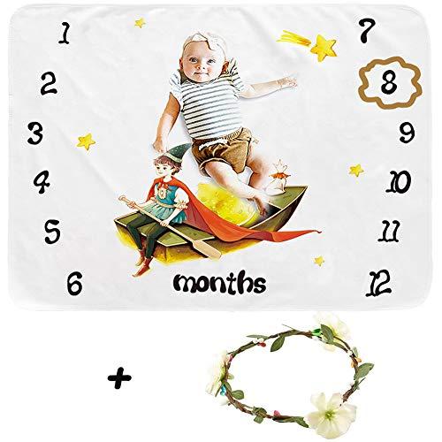 Funkeet Infant Milestone Blanket Cute Soft Baby Monthly Milestone Blanket Photo Backdrop for Girls Boys