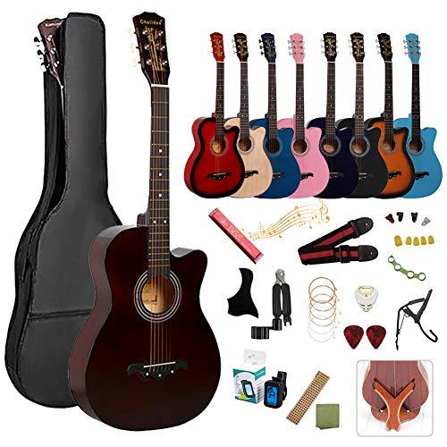 アコースティックギター 初心者17点セット 38インチ 入門練習ギター 学生 子供 大人用 初級ギターセット 初心者入門用 アコギ クラシックギター 弦 チューナー ギタースタンド・ソフトケース・簡易教則(日本語)付き