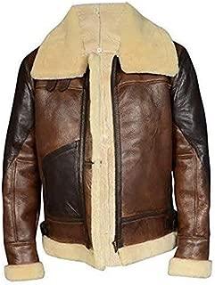 KAAZEE Men's Aviator RAF B3 Faux Fur Sheepskin Leather Flying Bomber Jacket