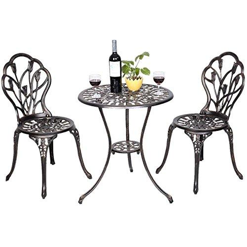 COSTWAY Mesas y Sillas de Metal Garden Terrace Pub Table Jardín Muebles Antique Vintage Style 1 Mesa 2 Sillas