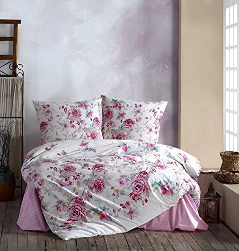 S-EXPANSE Bed linen 135 x 200 cm. White/pink floral, 100% cotton / renforcé with zip fastener, breathable, 2-piece duvet cover set with pillowcase 80 x 80 cm. Desima