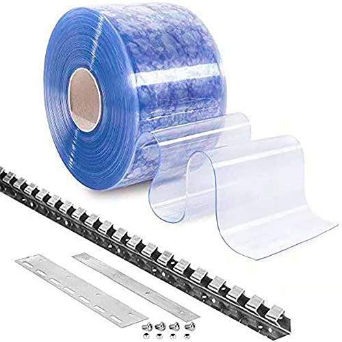 Cortina de Lamas de PVC Transparente con Montante de acero inoxidable | Cortinas de Láminas | Cortina Industrial | Impermeable | Resistente a la Intemperie | Medidas Personalizables