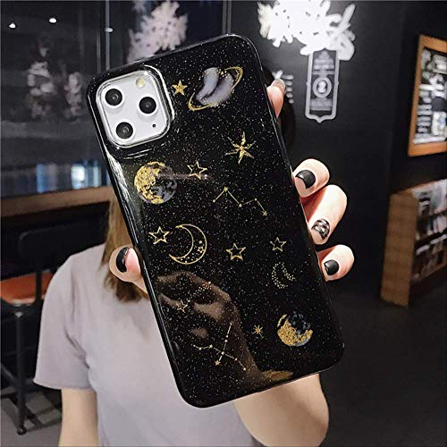 Estuche Glitter Bling Stars Moon para iPhone 12Pro 11Pro MAX X XR XS MAX 7 8 6 6s Plus Fundas para teléfono Clear Planet Funda Trasera de TPU Suave para iPhone 11 Negro
