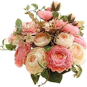 Flores artificiales artificiales de tacto real, rosas de plástico de seda, arreglos de flores, ramos de boda, decoración…