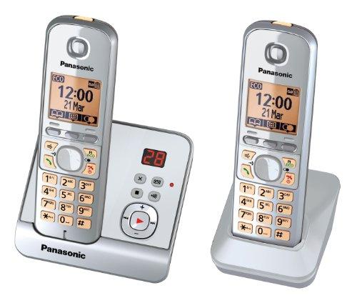 Panasonic KX-TG6722GS Duo - Teléfono inalámbrico (pantalla de 1,8', tecla de función, manos libres, contestador automático), color plateado (importado)
