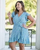 The Drop Vestido para Mujer Envolvente, Floral Azul, por @caralynmirand,S