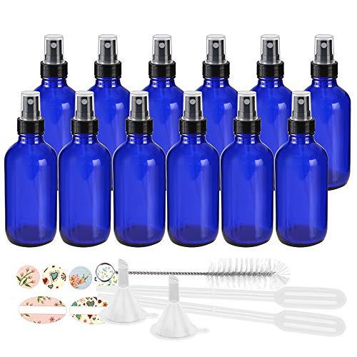 12 Pack 120 ml 4oz Blue Glass Spray Bottles with Fine Mist Sprayer & Dust Cap for Essential Oils,...