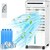 QUARED Evaporative Air Cooler 5L, 4 in 1 Large Mobile Portable Air Conditioner Cooling Fan Humidifier Anion Purification with 3 Speed, 3 Mode, Remote Control, Timer Function, for Home Office