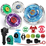 Ruolan Metal Fusion Battling Tops Storm Pegasus/Flame Libra/Earth Eagle/ Lightning L-Drago Spinning Launcher Toys Set Gift for Boys