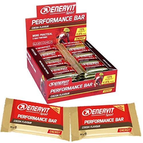 ENERVIT Sport Performance Bar | High Carb Energy Bar | Barritas energéticas con proteínas, magnesio y vitaminas | Barritas deportivas para entrenamiento | (Chocolate, pack ahorro con 28 doble bloqueo)