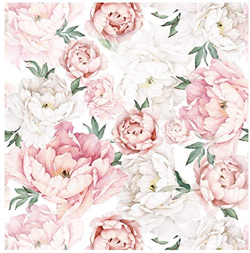 Blooming Wall PS040 Peel&Stick Removable White Pink Fresh Peony Self-Adhesive Prepasted Wallpaper Wall Mural