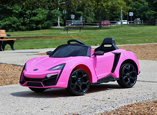 First Drive Lykan Hypersport Style Ride On Electric Car - Pink 12v Power Motorized Kids Cars - Dual Motors, Bluetooth, Music, Early Education, Story Mode, LED Lights, Remote Control (RC)…