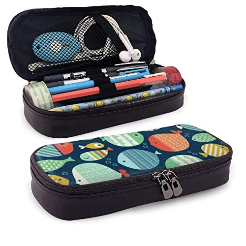 Fish Pencil Pen Case Zipper Bag Stationery Pouch Holder Box Organizador para Middle High School Office College-V6