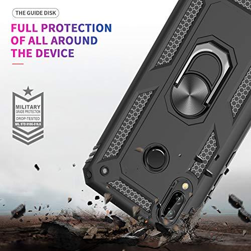 LeYi Hülle Huawei Y7 2019 Handyhülle,360 Grad Drehbar Ringhalter Cover TPU Magnetische Bumper Stoßdämpfung Schutzhülle mit HD Folie Schutzfolie für Case Huawei Y7 2019 Handy Hüllen Schwarz - 3