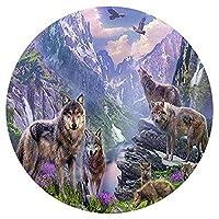 大人のパズル1000ピースパズルティーンエイジャーと大人のための山のオオカミパターン、非常に良い教育ゲーム円形パズル