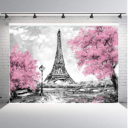 Eiffel Tower & Pink Flowers Trees Background for Photography Or Parties Vinyl 7x5ft