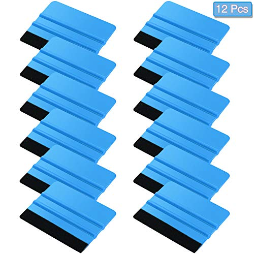 12 Pieces Felt Edge Squeegee Car Wrapping Tool Kits, 4 Inch Felt Squeegee Applicator Tool for Car Vinyl Wrap, Window Tint, Wallpaper, Decal Sticker Installation (Blue)