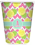 RNK Shops Pineapples Waste Basket - Single Sided (White) (Personalized)