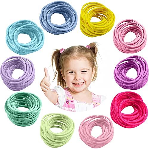 300 Piezas Gomas de Pelo, VEGCOO Elástica Mini Bandas de Pelo Lazos de Pelo Multicolor Accesorios para el Cabello para Niña Bebé (A)