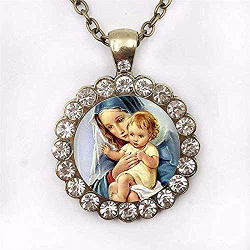 WYDSFWL Collar Todos los Santos Iglesia Católica Corazón Jesús Collar Art P o Corazón Jesús Colgante Joyería Cristiana Collar Regalo