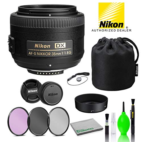 Nikon AF-S DX NIKKOR 35mm f/1.8G Lens USA (2183) with Bundle Package Deal Kit Includes: 3PC Filter Kit + Deluxe Lens Cleaning Kit + More
