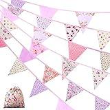 Bandera Empavesado de Tela Banderines Vintages de 40 Feet 42 Piezas Banderines de Flor Guirnaldas de Tela de Bandera de Triángulo para Decoración de Casa Baby Shower (Rosa)