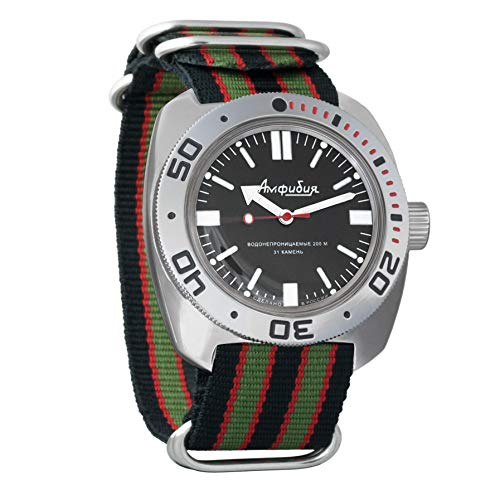 Vostok Amphibian automático Mens Reloj de pulsera Self-winding Militar buceo anfibios Ministerio caso reloj de pulsera # 710916