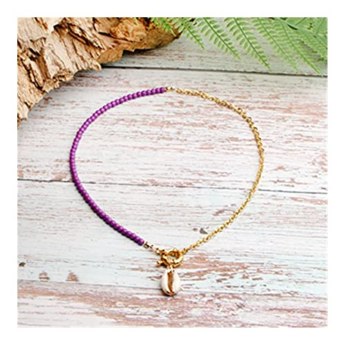 SAIO Collar Colgante de cáscara Natural Damas de diseño de Cadena de Cadena Moda (Metal Color : Purple)