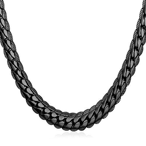 U7 Erbskette Halskette für Männer Jungen 6mm breit Rundpanzerkette - Mesh Englische Collier schwarzes Metall plattiert Gliederkette Modeschmuck 76cm lang, schwarz