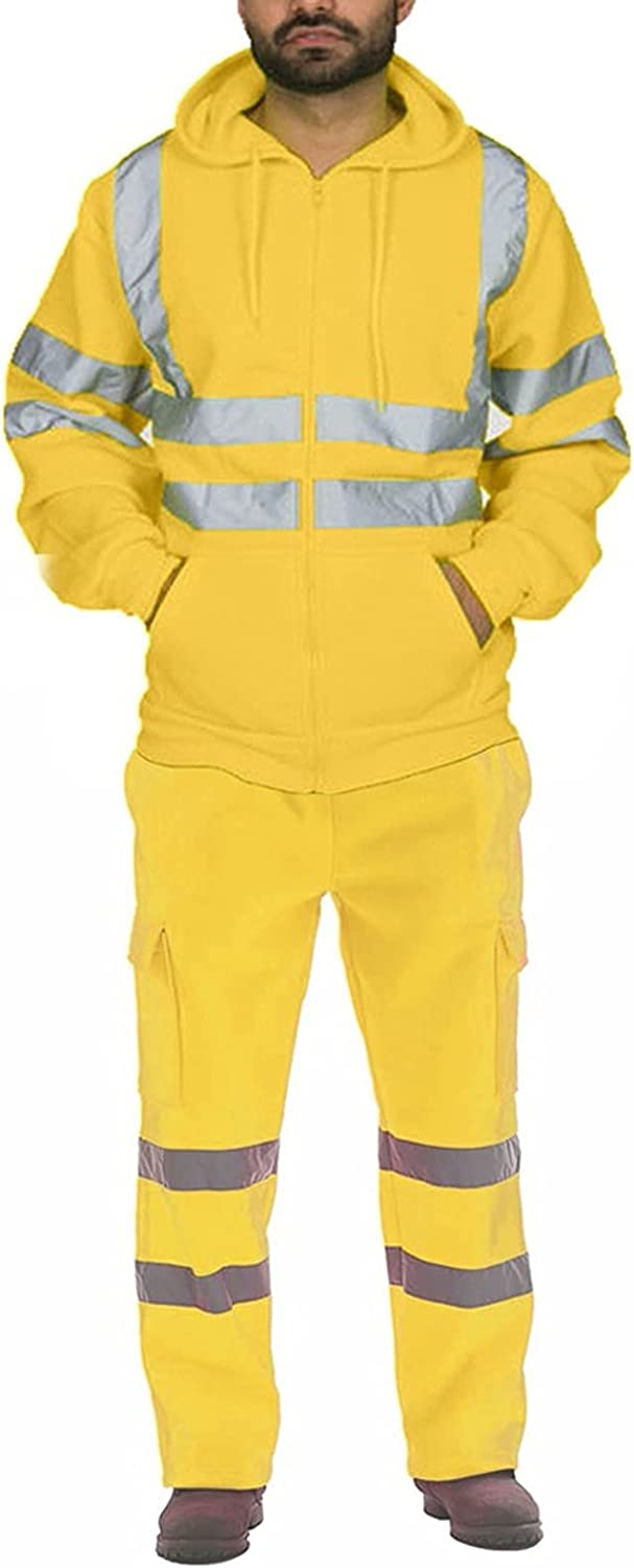 FIRERO Men's Max 83% OFF Sanitation Workers Stripe Suit Atlanta Mall Reflective Two-Piece