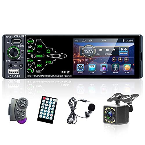 lettore MP5 per auto 1 Din con Bluetooth, autoradio universale con touch screen da 3,8 pollici, supporto radio FM, ingresso USB/AUX, con telecamera per retromarcia + controller al volante + microfono