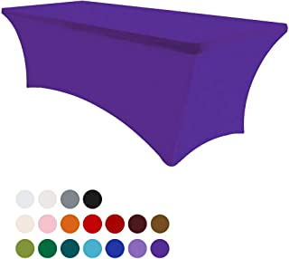 Eurmax 5Ft Rectangular Fitted Spandex Tablecloths Wedding Party Table Covers Event Stretchable Tablecloth (Purple)