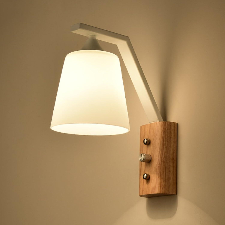 MILUCE LED-Metall-Holz-Wandleuchte Schwarz-Wei-Kreativ-Schlafzimmer Nachttischlampe E27 Balkon-Gang Massivholz Glas Wandleuchten (Farbe   Weiß-B)
