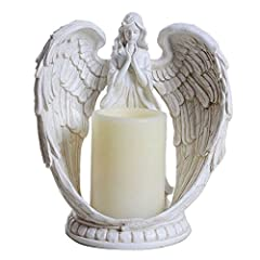 "Praying Angel Statue Figurine/Sculpture with a flameless battery operated LED Candle with 6H Auto Timer, requires 3pcs x AAA Battery(battery is excluded) Angel Statue Material: Resin, Measurement: 9""Height x 8""Width x 4.75""Depth; Candle Size - 3"" (Di..."