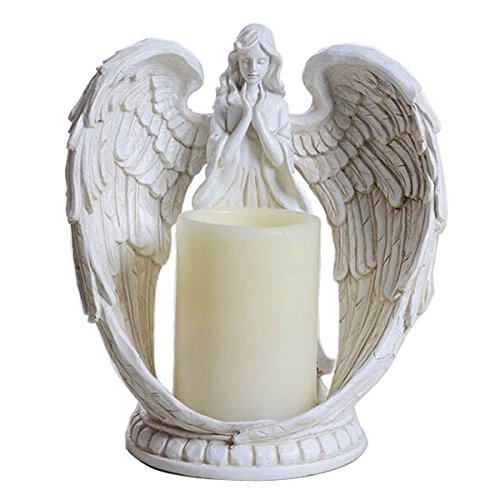 KiaoTime 9' Praying Angel Figurine Wings Angel Flamless LED Candle with 6H Timer Function Angel Figurine Sculpture Statue Decorative Home Wedding Christmas Church Baptism Angel Collection Figurine