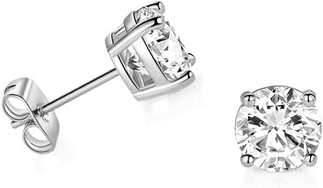 14k White Gold Solitaire Round Cubic Zirconia CZ Stud Earrings with 14k Gold butterfly Push-backs