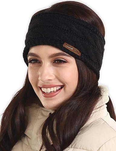 Lady Rhinestone Maple Leaf Knitted Headband Winter Warm Wide Head Band Stretch M