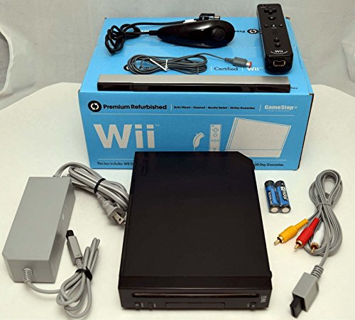 GameStop Premium Nintendo Wii BLACK Video Game Console Home System Bundle Online RVL-001 GameCube (Renewed)