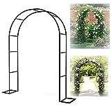 LZPQ Metal Garden Arch, 2.2-2.3M Arco Decorativo, para Plantas Soporte Rosas Escalada Archway Jardín Decoración (Blanco, Negro) Y