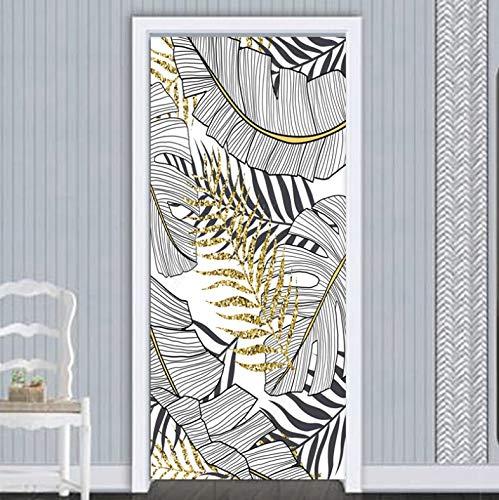QQFENG Tür Wandbild Türaufkleber Selbstklebender 3D-Goldfaden Für Tropische Pflanzen Wasserdicht Türposter Tapete Wandaufkleber 77 X 200 cm