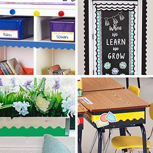 """Carson Dellosa Scalloped Bulletin Board Borders Set—6-Pack, Blue, Yellow, Green, Red, Black, White Rolled Borders, Classroom Decorations (2.25"""" x 36' Rolls) Photo #7"""